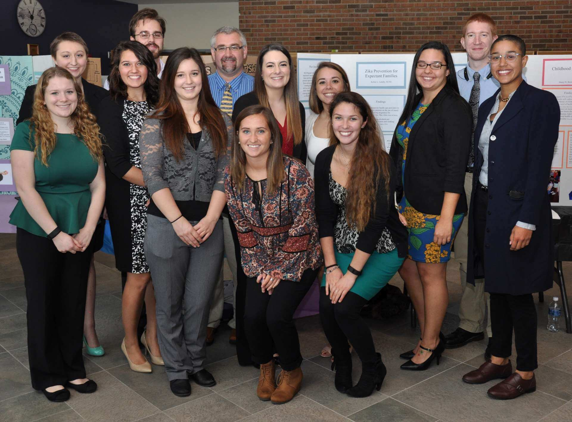Students who created poster presentations for the annual Nursing Research Day include (l. to r.) Janae Hanes, Shannon Becker, Amanda Feagans, Henry Jones, Rachel DeBord, Jarrod Houser, Hannah Russo, Renae Pascone, Savannah Shores, Caitlin O'Connor, Sally Rodriguez, Kevin Morgan, and Francesca Inman.