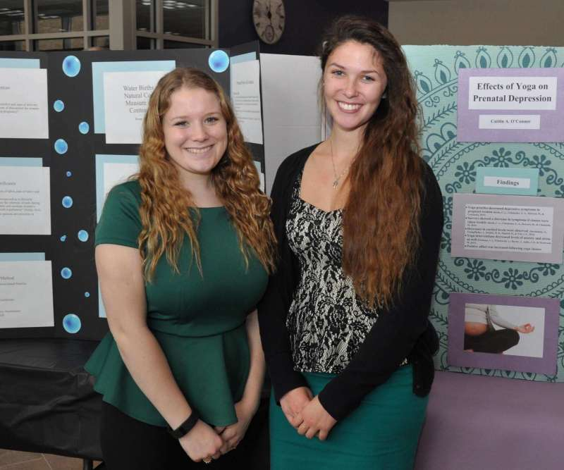 Shepherd Board of Governor's student representative Caitlin O'Connor (l.) and Renae Pascone were among the nursing students presenting their research.