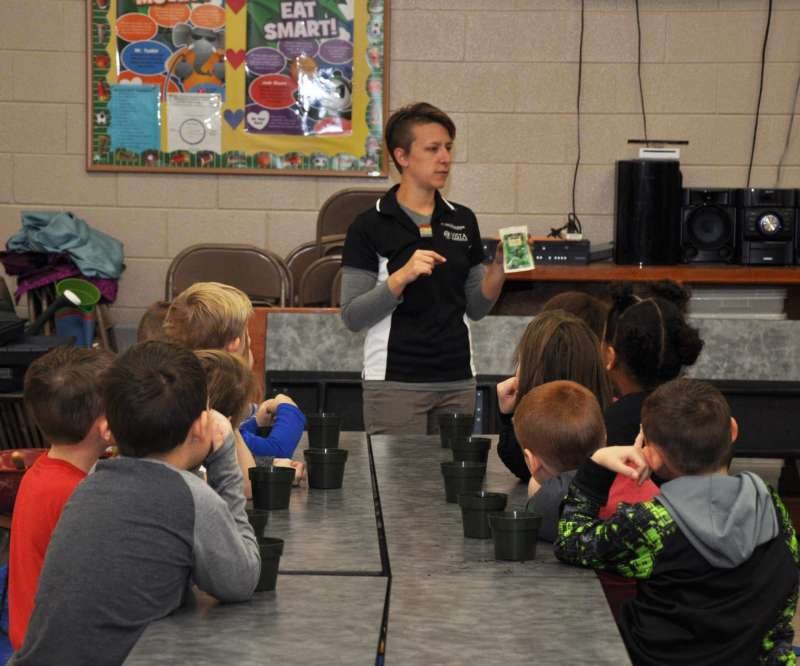 Students at Marlowe Elementary School participate in the SNAP-Ed indoor garden program.