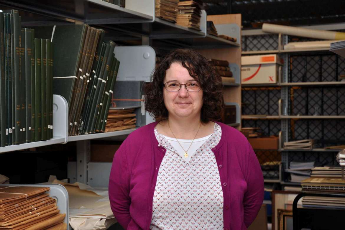 Christine Toms, who oversees special collections, digital initiatives, and the Scarborough Library website, stands in the archive room where the special collections are housed. The library received a $5,995 National Endowment for the Humanities preservation assessment grant for small institutions to have an assessment condcuted on how the documents are stored.