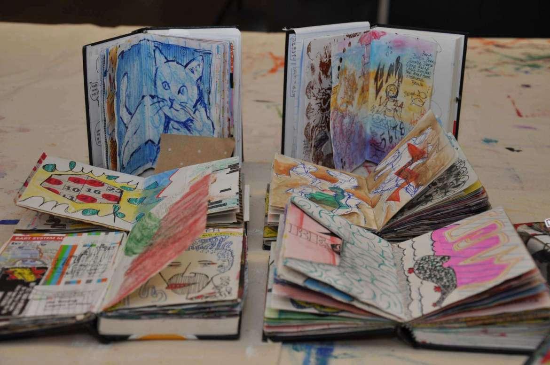 Examples of David Modler's sketchbook project.
