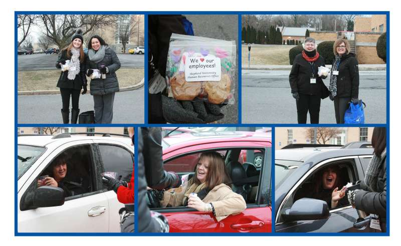 Top row (l. to r.): Human Resources staffers Lisa Fraley '97 and Tammy Gill wait for employees to pull into the parking lot; the cookies are bagged and labeled and ready to hand out; and HR staffers Mona Kissel and Donna Shipley wait in front of Ikenberry Hall for employees commuters to arrive. Bottom row: Employees receiving the cookies are (l. to r.) Pam Swope, student records assistant, registrar's office; Holly Morgan Frye '09 M.A., assistant vice president for student affairs and director of community and congressional relations; and Stacy Nelson, administrative assistant, enrollment management.