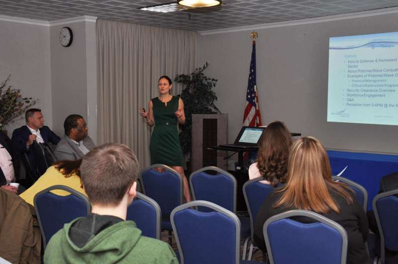 Emma Sopko, founder and president of PotomacWave Consulting, speaks to Shepherd students about job opportunities.