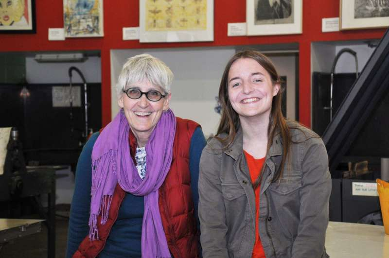 """Rhonda Smith (l.), chair of the Department of Contemporary Art and Theater, and Acadia Kandora, a senior art major from Charles Town, both have pieces in a juried show titled """"INK IT: Contemporary Print Practices"""" at the Black Rock Center for the Arts in Germantown, Maryland, that runs through March 11."""