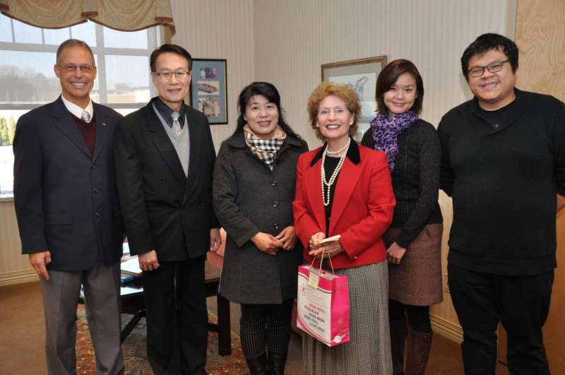 Members of a delegation from Shepherd's new university partner in Taiwan, Nanhua University, met with Shepherd President Dr. Mary J.C. Hendrix during a visit to campus on January 31. Pictured (l. to r.) are Dr. Charles Nieman, Shepherd's director of international affairs; Yuri Yao-Tsung Chih, director of the education division of the Taipei Economic and Cultural Representative Office in the United States; Dr. Yueh-Chiao (Stella) Yeh, Nanhua University secretary and associate professor of natural biotechnology; Hendrix; Dr. Yu-Hsuan Liao, Shepherd assistant professor of music; and Ryan Tsai.