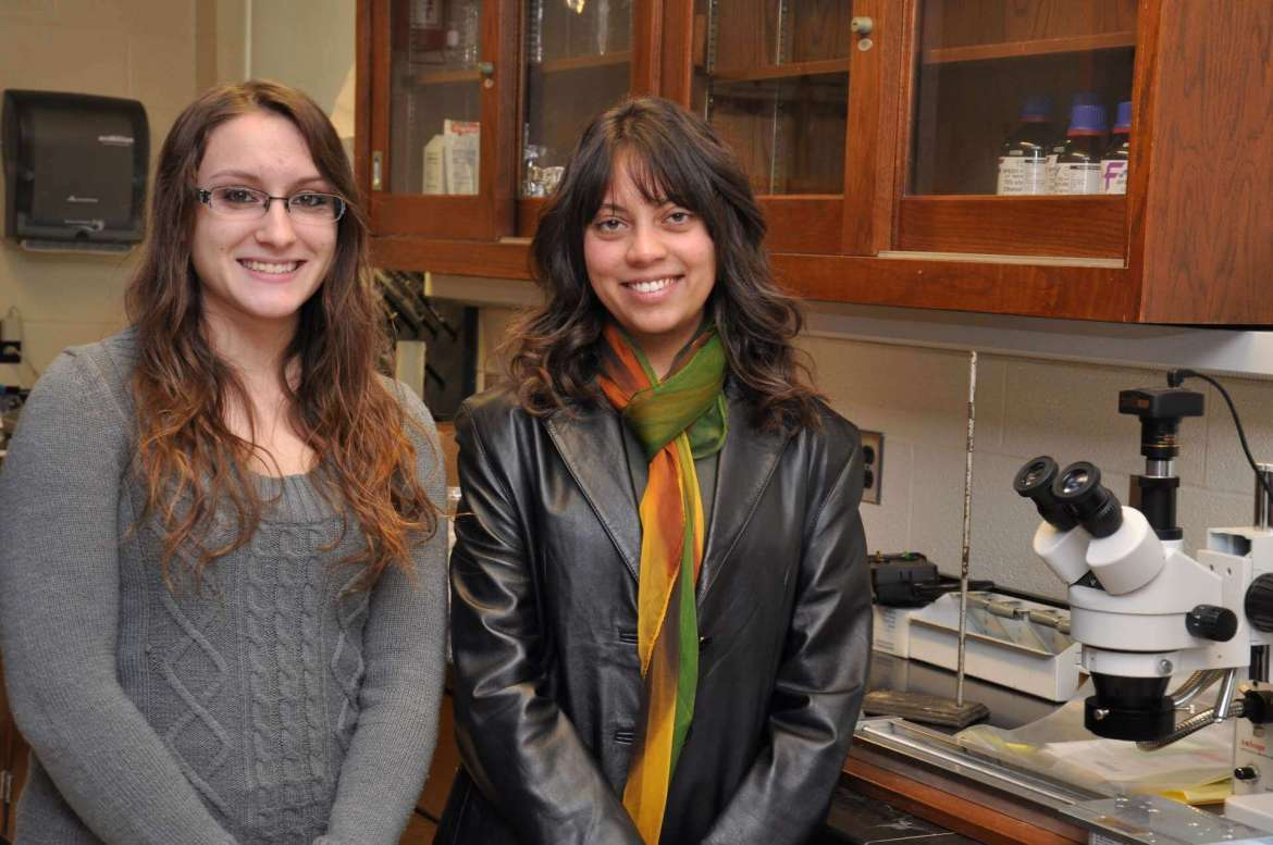 Pictured in a lab at Shepherd university are Sierra Hoffman (l.), a senior biology major from Hagerstown, Maryland, and Amaris Jalil, a sophomore biology major from Charles Town.