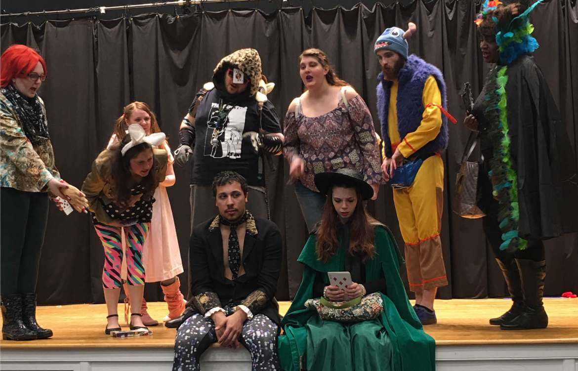 The cast for the next Rude Mechanicals Medieval and Renaissance Players performance includes (seated, l. to r.) Adam Wilson and Tessa Congo, and (standing) Ashley Hall, Rachel Bearry-Sandstrom, Bethany Kaetzel, Dylan Meushaw, Michaela Keyser, Zach Bishop, and Lyvon Campbell.