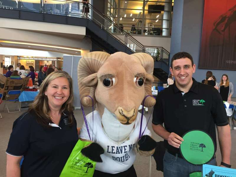 Rambo poses with Jefferson County Parks and Recreation representatives at Wellness Center's Second Annual Health Fair on February 25. Photo by David Gansz