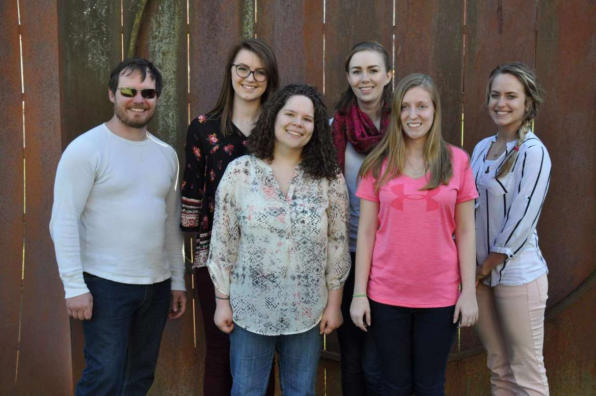 Shepherd University students who presented at the 25th Annual West Virginia Undergraduate English Symposium March 25 at West Liberty University were (l. to r.) Michael Barbour, an English and history major from Martinsburg; Brianna Maguire, an English major from Paw Paw; Claudia McCarron, an English major from Charles Town; Julia Athey, an English and business major from Charles Town; Madeline Dillow, a sociology major from Charles Town; and Rebecca Barb, an English education major from Woolwich Township, New Jersey.