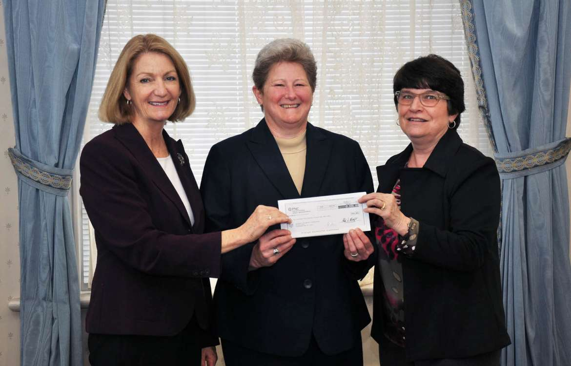 Shepherd University received a $2,500 grant from the FirstEnergy Foundation to support outreach activities in the School of Natural Sciences and Mathematics. Pictured, (l. to r.) are Monica Lingenfelter, executive vice president of the Shepherd University Foundation; Dr. Colleen Nolan, dean of the School of Natural Sciences and Mathematics; and Charlene Gillem, FirstEnergy representative.