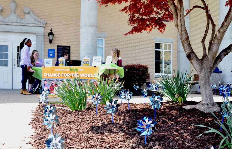 Students raising funds for Kiva are (l. to r.) Andrea Barnett, Hagerstown, Maryland; Blaise Marshall, Meshoppen, Pennsylvania; Austin Sussman, Charleston; and Kristen Leiter, Rockville, Maryland.