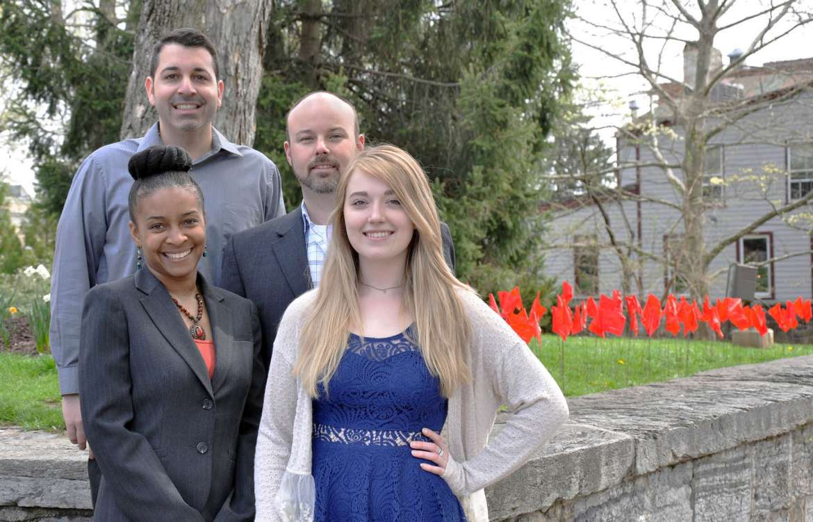 Pictured are (front, l. to r.) Dr. Chiquita Howard-Bostic, chair of the Department of Sociology and Geography, and Kristin Leiter, a sociology major from Shepherdstown; (back) Christopher Cobain, adjunct criminal justice professor, and Dr. Joseph Robbins, chair of  the Department of Political Science.