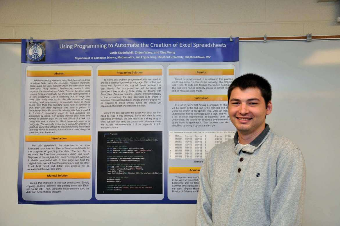 "Vasile Stadnitchii, a computer information sciences (CIS) major from Hagerstown, Maryland, won the Outstanding Undergraduate Poster Presentation award during the 92nd annual meeting of the West Virginia Academy of Science April 8 for his presentation titled ""Using Programming to Automate the Creation of Excel Spreadsheets."""
