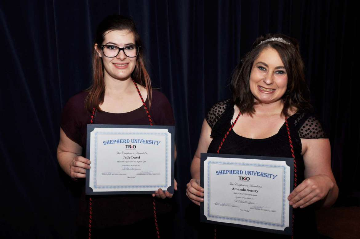 TRiO students Jade Dusci, (l.) of Walkersville, Maryland, received the award for Highest GPA, and Amanda Gentry, of Wiley Ford, received the Most Active Participant award.