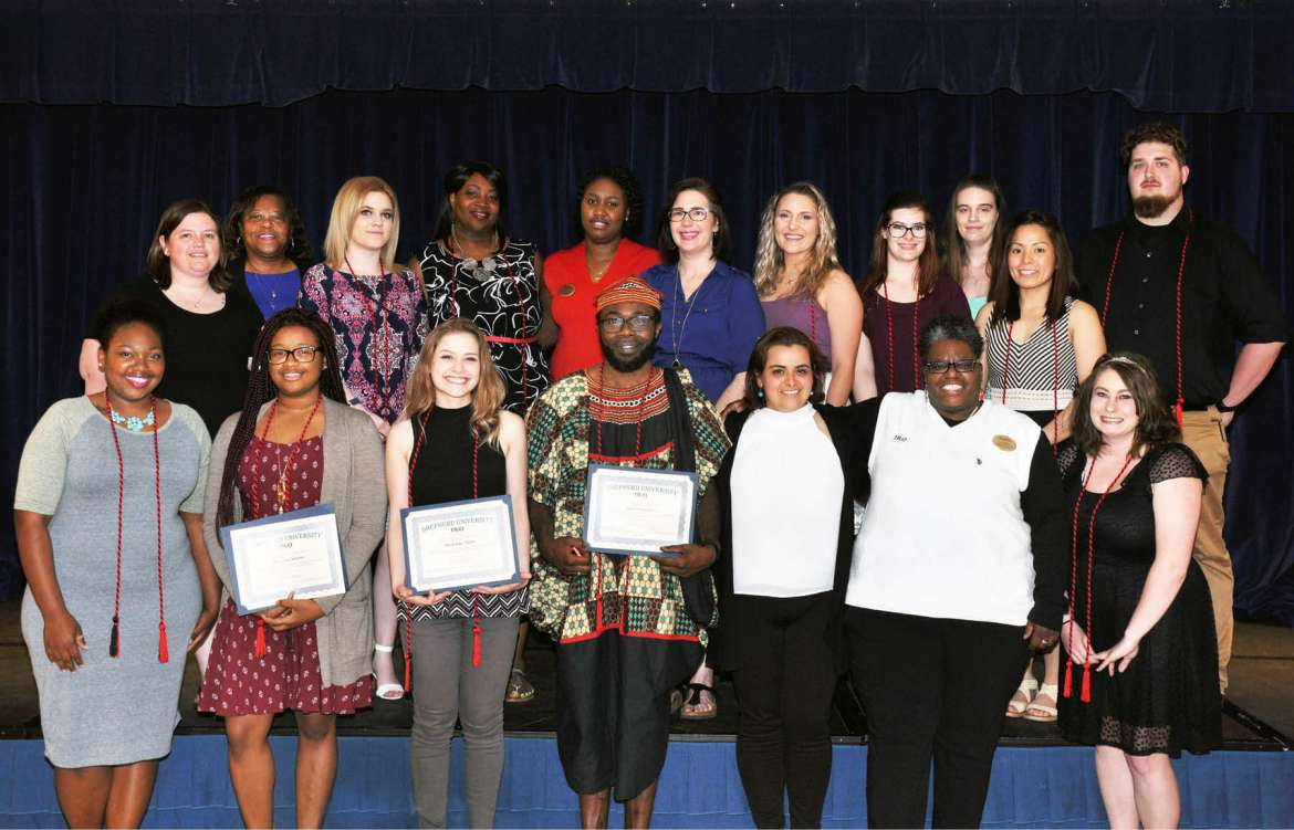 Front row (l. to r.): Latavia Smith, Charles Town; Martina Adams, Washington, D.C.; Madeline Tighe, Paw Paw; Jules Gamaleu, Burtonsville, Maryland; Fadela Belhaj, TRiO graduate assistant; Evora Baker, TRiO academic retention specialist; and Amanda Gentry, Wiley Ford. Back row: Michelle Ricketts, TRiO academic retention specialist; Cynthia Copney, director of TRiO; Molly Adams, Martinsburg; Lyvon Campbell, Loganville, Georgia; Tajmarie Rowe, TRiO senior administrative assistant; Lisa Butler, Charles Town; Katelyn Turner, Bloomery; Jade Dusci, Walkersville, Maryland; Kayla Eury, Keedysville, Maryland; Audrey Delos Santos, Boonsboro, Maryland; and Jacob Mellow, Harpers Ferry.