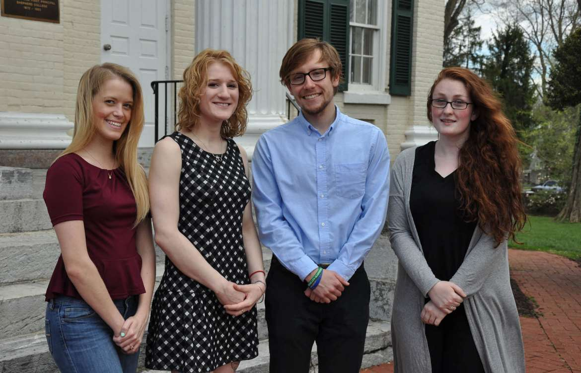 Winners of the annual Congressional Term Limits competition are Shepherd University students (l. to r.) Desiree Rose, Hedgesville, honorable mention; Meredith Blady, Martinsburg, honorable mention; Will Wheatly, Harpers Ferry, first prize; Rebecca Kamp, Martinsburg, second prize. Not pictured are Laura Knock, Kearneysville, third prize; Derek Metz, Martinsburg, honorable mention; and Mikayla Duhaime, Saratoga Springs, New York, honorable mention.