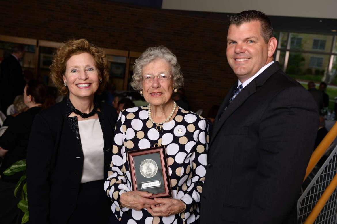 Shepherd Aluna Betty Lowe was welcomed into the Shepherd University Foundation's Joseph P. McMurran Society during a dinner April 29. Pictured (l.-r.) are Shepherd President Mary J.C. Hendrix, Lowe, and Chris Colbert, Vice President of the Shepherd University Foundation.