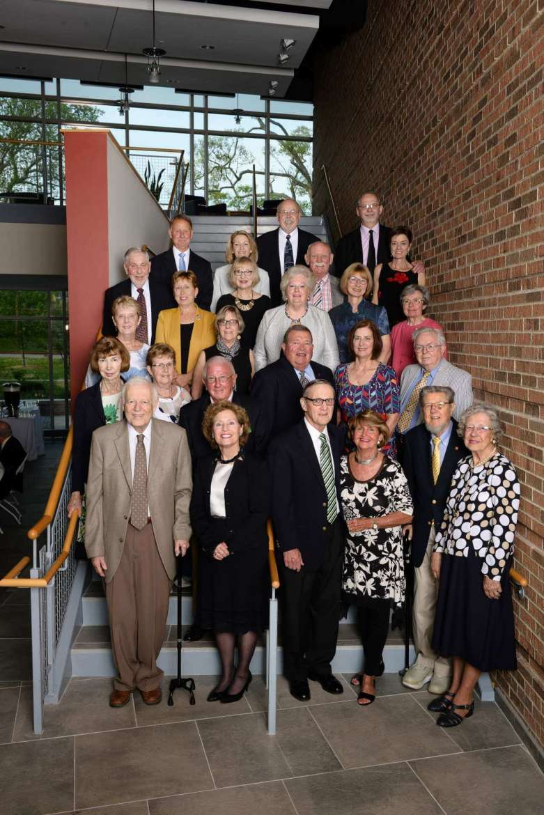 """Members of the Shepherd University Joseph P. McMurran Society who attended the April 29 dinner welcoming Betty Lowe include, first row (l.-r.), John Egle, Mary Hendrix, Al Lueck, Sara Lueck, Thomas Banks, and Betty Lowe; second row,  Pat Egle, Jo Hillyard, Paul """"Soupy"""" Hillyard, Karl Wolf, Barbara Humes, and Michael Athey, third row, Ann Hummer, Mary Bell, Carole Griffith, Susan Mentzer-Blair, and Karen Cunningham, fourth row,  Thomas Miller, Joan Starliper, Carol Durand, Bill Blair, and Jane Cook, and back row, Dan Starliper, Monica Lingenfelter, Bill Lingenfelter, and William """"Bill"""" Simmons"""