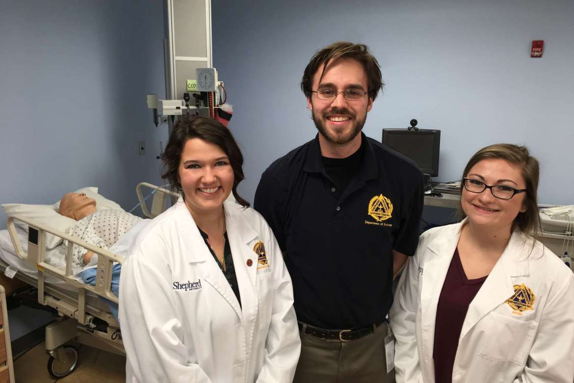 Shepherd University nursing students who spent the spring semester working at an area hospital alongside a preceptor include (l-r) Amanda Feagans, Olney, Maryland; Henry Jones, Gettysburg, Pennsylvania; and Courtney Lewis, Bunker Hill.