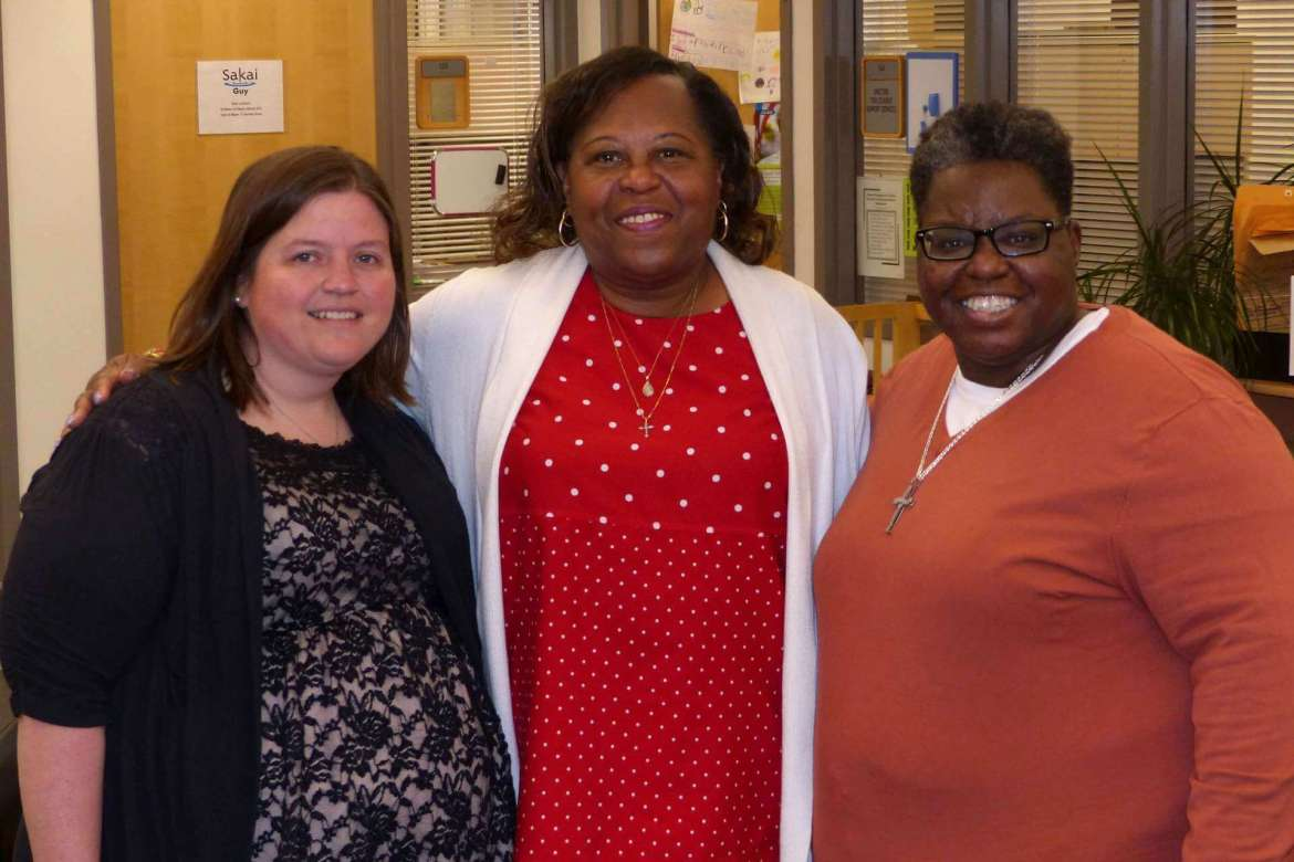 Shepherd University's TRiO Support Services program received a $1.2 million grant from the U.S. Department of Education to start an Upward Bound program in Berkley County Schools. Pictured (l-r) are  Michelle Ricketts, TRiO academic retention specialist;  Cynthia Copney, director of TRiO programs; and Evora Baker, TRiO academic retention specialist.