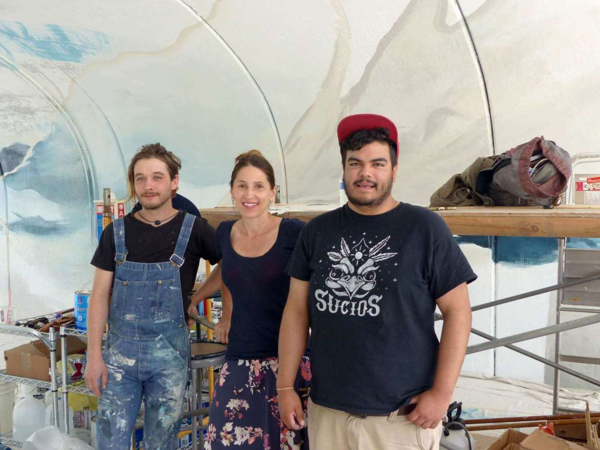 Designers for the underpass mural are (l-r) Josh Hawkins, alumnus; Sonya Evanisko, professor of art; and art major Fernando Velez, Martinsburg.