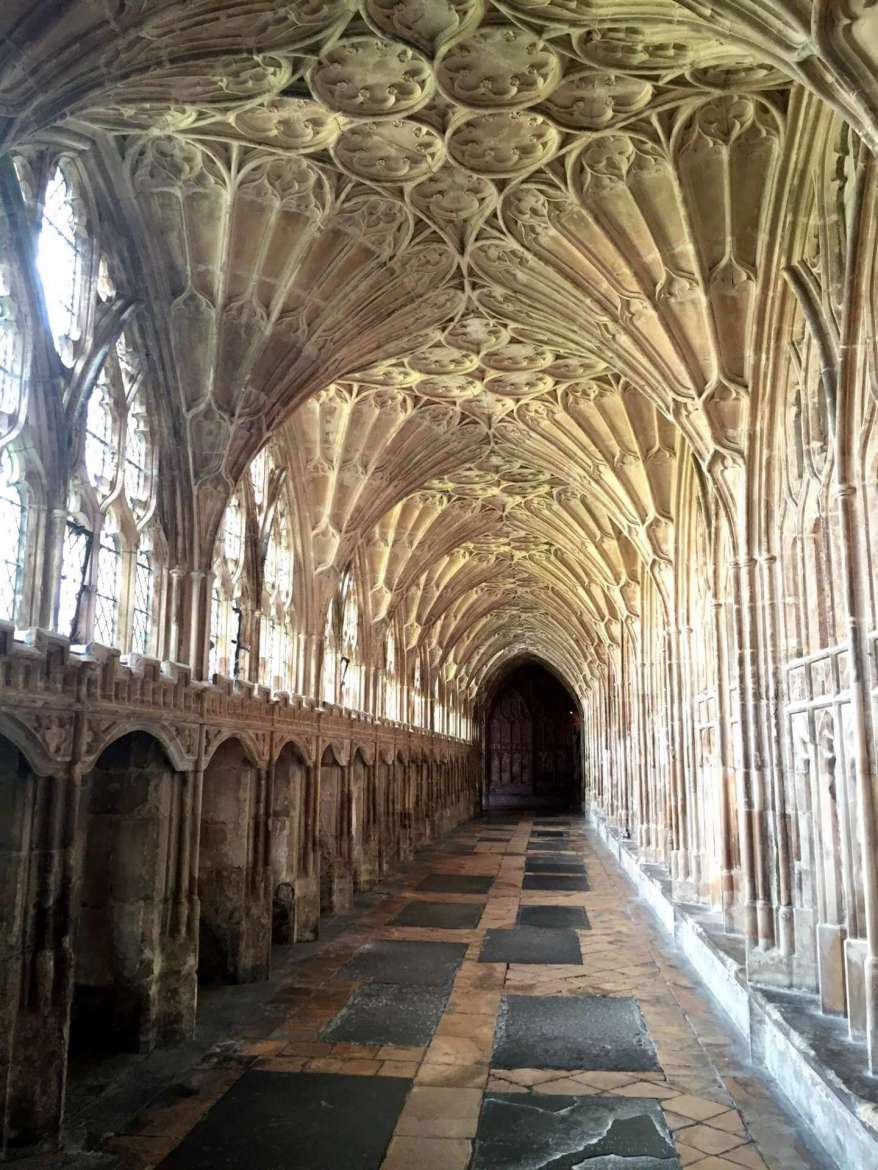 Seeing the Familiar in the Unfamiliar: the ceiling of Gloucester Cathedral in England, photo by Julia Athey.
