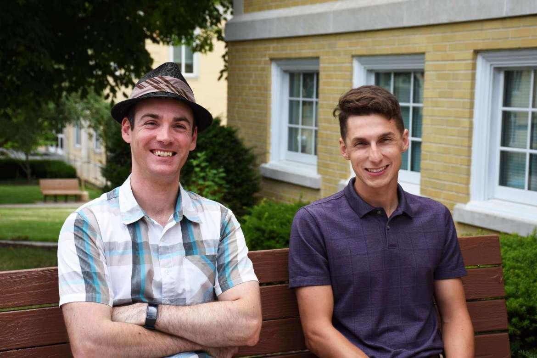 Daniel Nicholls (l.), a data analytics student from Melbourne, Australia, and Brendan Jarrell, an environmental engineering student from Shepherdstown.