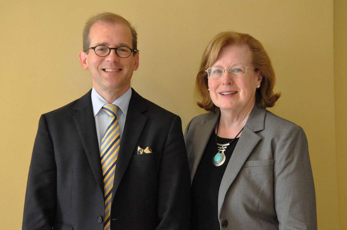 Dr. Scott Beard (l.), dean of graduate studies and associate provost, and Dr. Sharon Mailey, chair of the Department of Nursing Education.