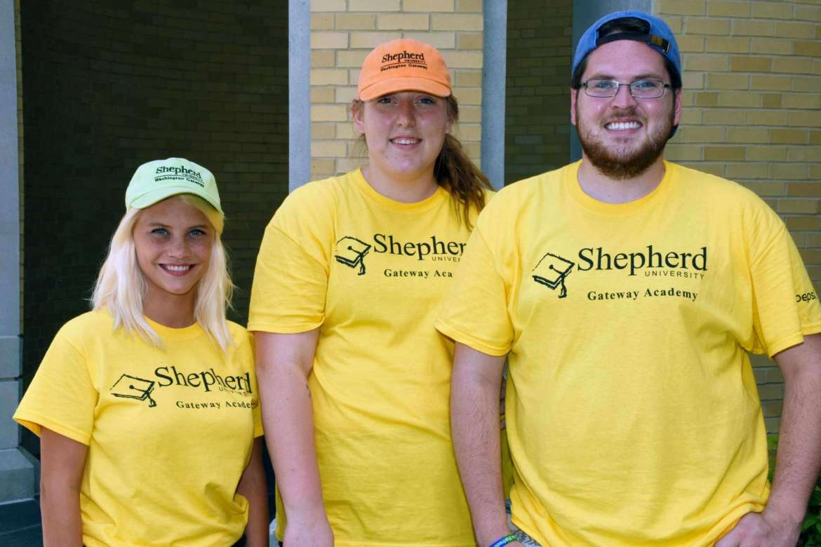 Three of the six counselors at Shepherd University's Washington Gateway Academy are graduates of the program. Pictures (l-r) are Nycole Cooper, a social work major from Romney; Haley George, a 2017 Shepherd graduate from Bunker Hill; and Kahlen Browning, a business major from Bolt. The Gateway Academy offers a weeklong, on-campus experience to rising ninth graders from West Virginia, Virginia, and Maryland to give them an idea of what attending college might be like.