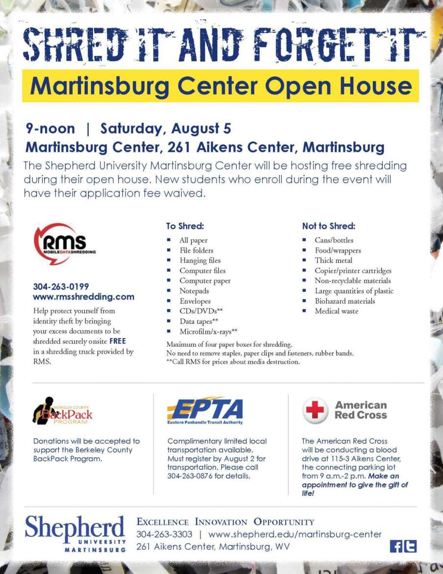shepherd university martinsburg center to host august 5 open house