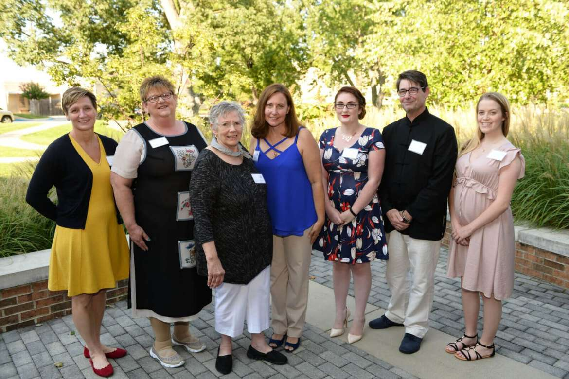 Pictured (l. to r.) are 2017 WISH grant recipients Dr. Ann Wendle and Mary Beth Myers, Shepherd's student veteran transition and support initiative; Carolyn Zdziera, executive director of Community Alternatives to Violence; Stacie Rohn, chief professional officer of Boys & Girls Club of the Eastern Panhandle; and Rebecca Kamp, Dr. Arend Holtslag, and Desiree Rose, Shepherd's Model United Nations.