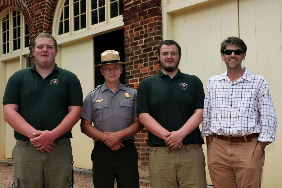 Pictured (l.-r.) are Joshua Hughes, a history major from Mechanicsville, Maryland; Dennis Frye, chief historian at Harpers Ferry National Historical Park; Michael Solomonik, a history major from Waldorf, Maryland; and Dr. James Broomall, assistant professor of history and director of Shepherd's George Tyler Moore Center for the Study of the Civil War.