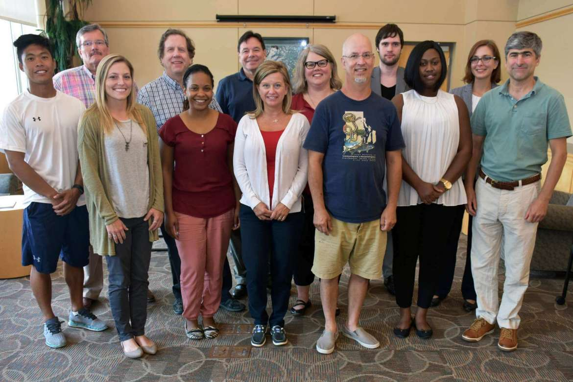 New faculty members are, front row (l. to r.) Alex Jones, lecturer/head men's soccer coach; Marissa Leslie, lecturer/head softball coach; Dr. Janine Scott, assistant professor of business administration; Dr. Angela Fetty, assistant professor of nursing education; Dr. John Steffen, assistant professor of biology; Tajmarie Rowe, academic retention specialist, TRiO Student Support Services; and Jason Miller, visiting assistant professor of computer information science. Back row, Scott Seslar, visiting assistant professor of accounting; Dr. Michael Lynch, assistant professor of business administration; Bradford Hamann, assistant professor of graphic design; Rachel Hally, lecturer/assistant librarian; Kyle Hoy, assistant professor of economics; and Dr. Elizabeth Perego, assistant professor of history. Not pictured are Kevin Dartt, clinical faculty/3D fabrication manager; Dr. Lois Jarman, director of the intensive English language program; and Melissa Hilleary, career advisor.