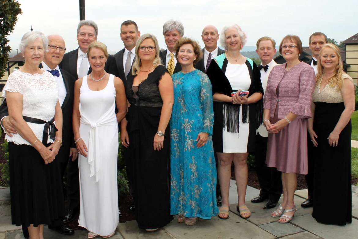 Pictured (l. to r.) are Scarborough Society President Ray and Mary Alvarez; Mike Smith of Valley Proteins, Inc. with wife Wendy; Chris Colbert of United Bank, Inc. with wife Samantha; Shepherd University President Mary J.C. Hendrix with husband Chuck Craft; Dean of Libraries and Information Sciences David Gansz with wife Regan Parker; Marty Keesecker of BB&T Wealth Management with wife Marlyn; and Cindy Kitner of Jefferson Security Bank with husband Steve.