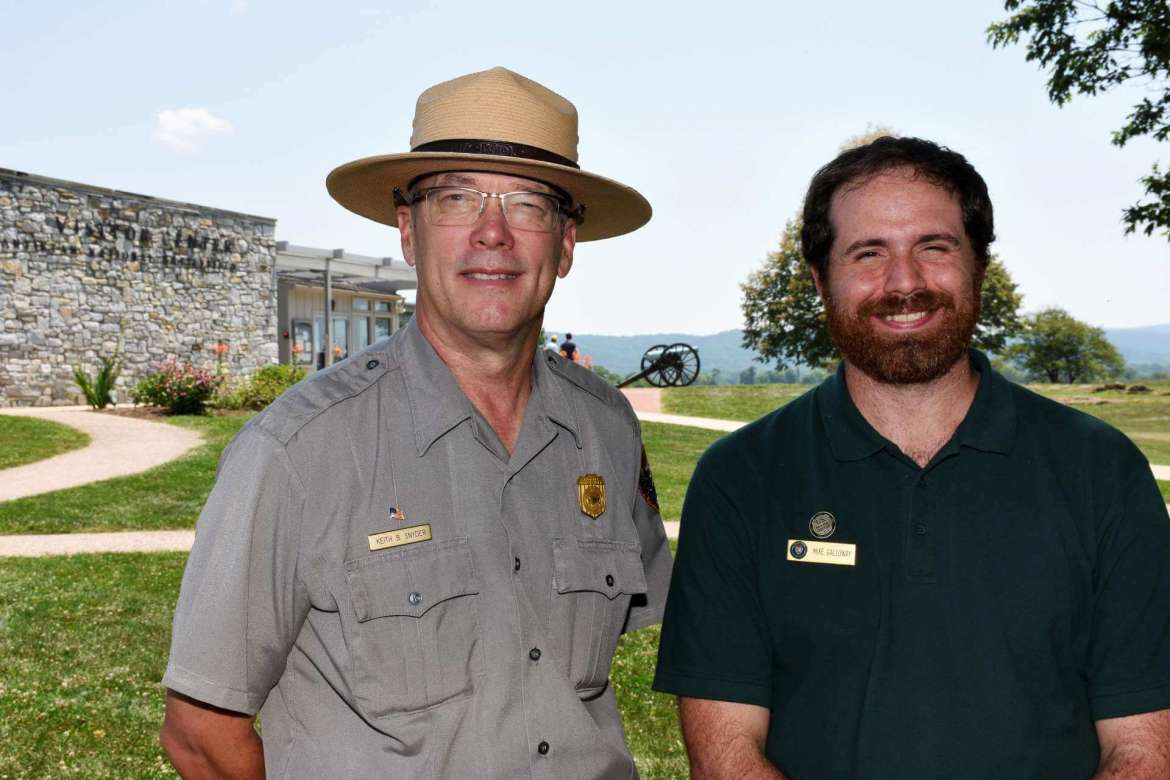 Pictured (l.-r.) Keith Snyder, chief of resource education and visitors services at Antietam National Battlefield, and Mike Galloway,  a recent Shepherd graduate from Germantown, Maryland.