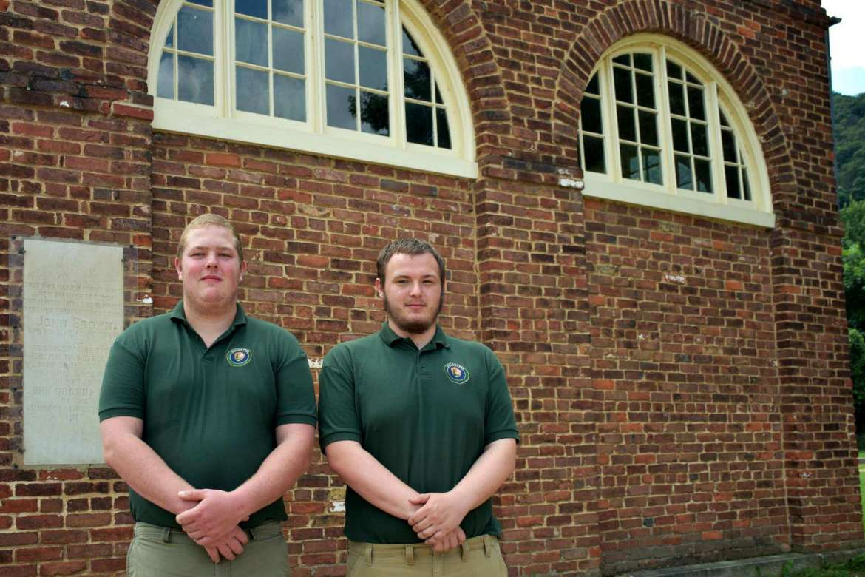 Pictured (l.-r.) are history majors Joshua Hughes, Mechanicsville, Maryland, and Michael Solomonik, Waldorf, Maryland.