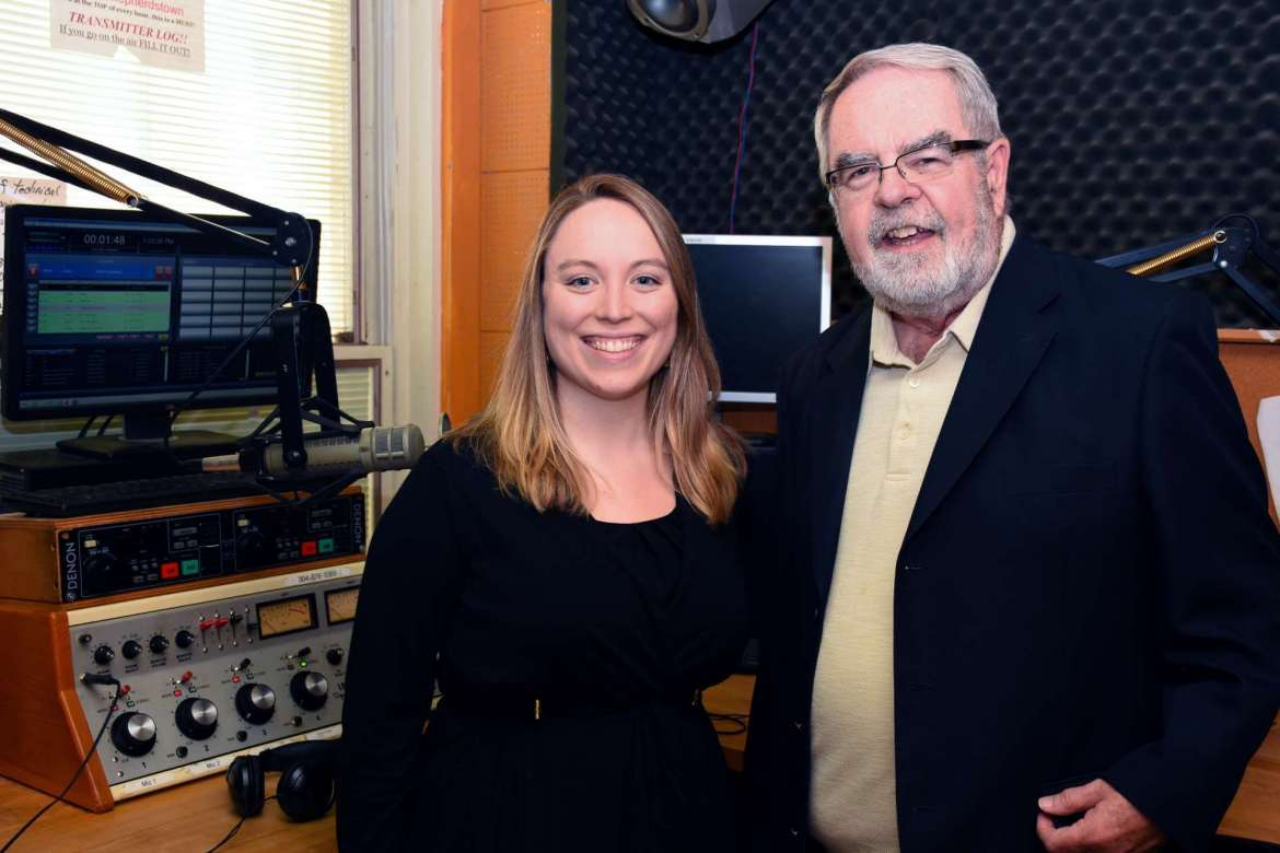 Pictured (L. to R.) are Liz McCormick, Shepherd alumna and Eastern Panhandle reporter and producer for West Virginia Public Broadcasting, and Mike McGough, general manager of Shepherd's radio station, 89.7 FM WSHC.