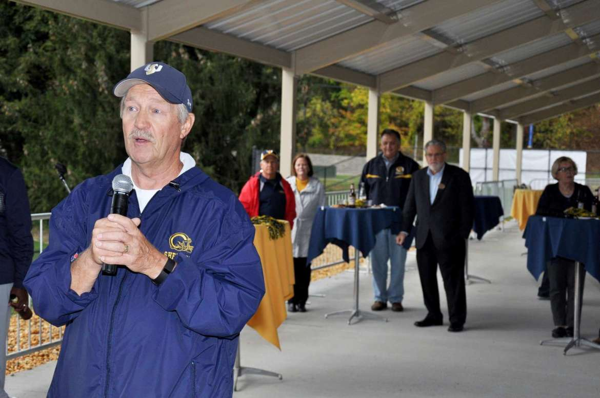 Shepherd University head football coach Monte Cater gave a preview of the game during last year's Homecoming Happy Hour.