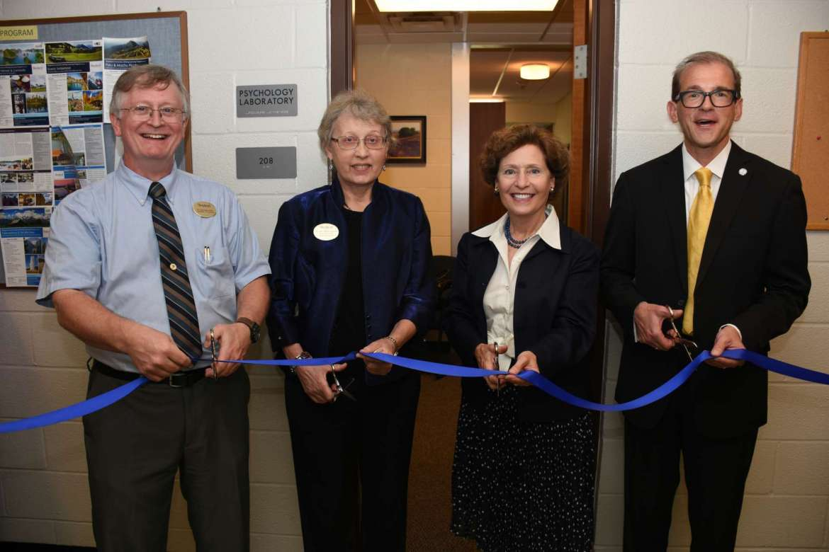 Pictured cutting the ribbon for Shepherd University's new psychology lab are (l. to r.) Dr. Larry Daily, chair, Department of Psychology; Dr. Ann Marie Legreid, dean, College of Social and Behavioral Sciences; Dr. Mary J.C. Hendrix, Shepherd president; and Dr. Scott Beard, acting provost.