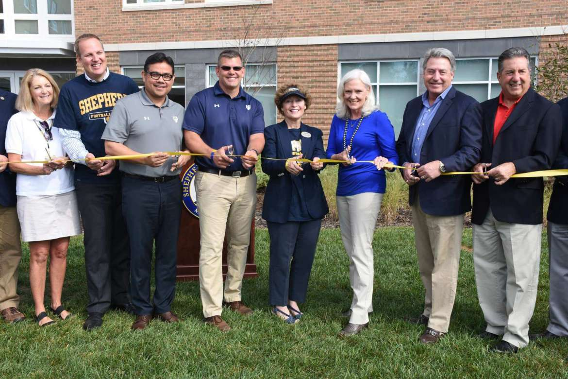 Pictured (l. to r.) are Monica Lingenfelter, Shepherd University Foundation executive vice president; Jeffrey Resetco, EdR vice president of real estate and development; James Vigil, Shepherd vice president for administration; Chris Colbert, Shepherd University Foundation vice president; Dr. Mary J.C. Hendrix, Shepherd president; Dr. Marcia Brand, Shepherd Board of Governors president; Mike Smith, Shepherd University Foundation president; and Gary J. Garofalo, Harkins Builders president and COO.