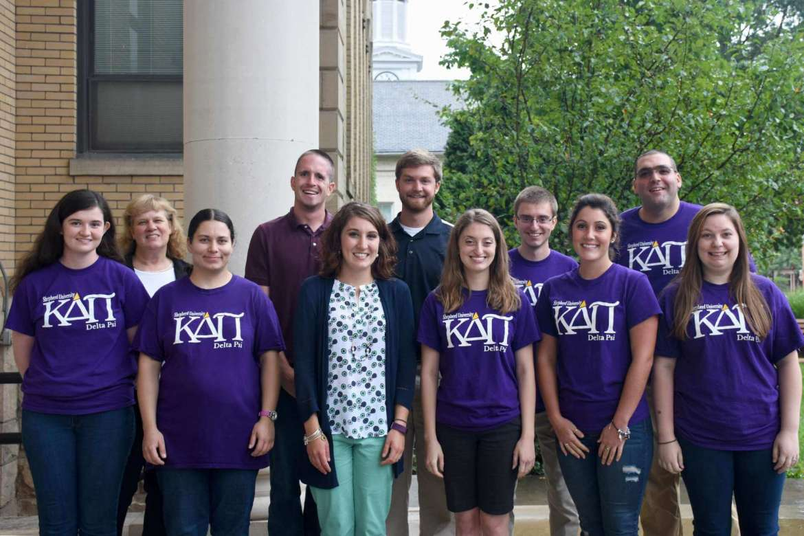 Members of Shepherd University's Delta Psi chapter of Kappa Delta Pi Education International Honor Society include, front row (l. to r.) Hannah French, Martinsburg; Charity Farrow, Berkeley Springs; Ashley Wilkins, Baker; Jillian O'Connell, Martinsburg; Stephanie Busey, Gerrardstown; and Jayna Kackley, Martinsburg. Back row, Dr. LeAnn Johnson, assistant professor of education; Connor Herndon, Clear Spring, Maryland; Bradley Davidson, Manchester, Maryland; Garrett O'Connell, Martinsburg; and Thomas Kozak, Harpers Ferry.