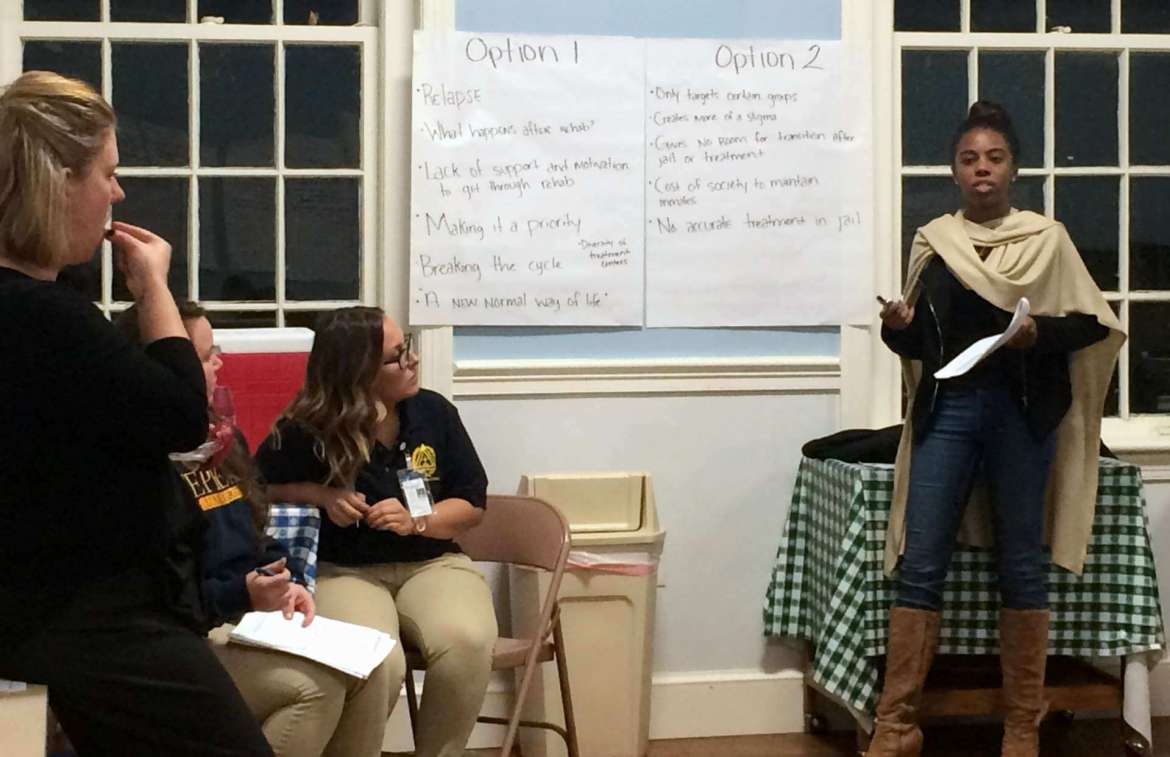 Students from Shepherd University recently helped facilitate a community discussion on opioid abuse during a forum at Camp Hill-Wesley United Methodist Church in Harpers Ferry.