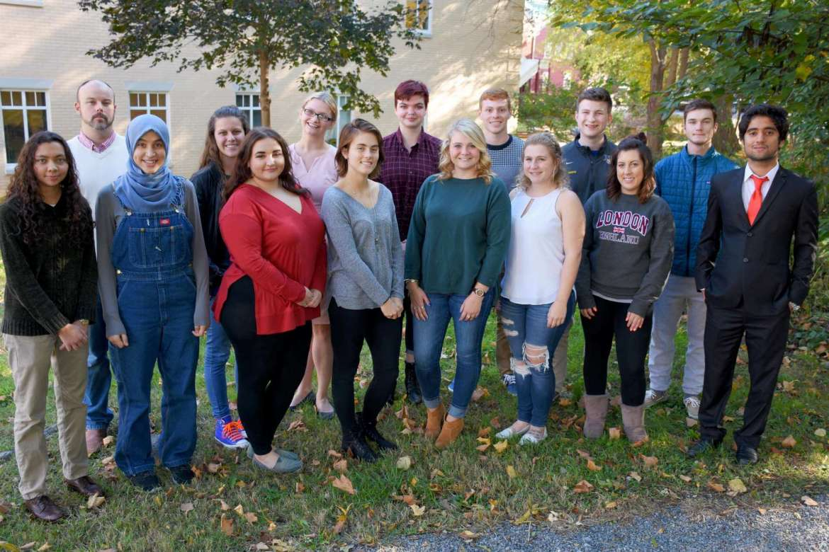 Members of the Shepherd University Debate Team are (front row, l. to r.), Jordan Jalil, economics and accounting, Kabletown; Imen Bouhestine, global studies, Tunisia; Mikayla Duhaime, political science, Saratoga Springs, New York; Molly Lovern, chemistry, Bluefield; Jennifer Dickey, business, Mount Airy, Maryland; Katie Zakrzewski, political science, Berkeley Springs; Spencer VanHoose, political science, Martinsburg; and Adnan Haider, political science, Pakistan. Back row, Dr. Joseph Robbins, chair of the Department of Political Science and Debate Team advisor; Carleigh West, global studies, Moundsville; Lauren Duckworth, psychology, Kingwood; Georgia Musselwhite, communication, Shepherdstown; Casey Feezle, political science, Augusta; Sam Brown, political science, Martinsburg; and Josh Smart, political science, Lewisburg. Not pictured is Madison Ronevich, political science, Martinsburg.