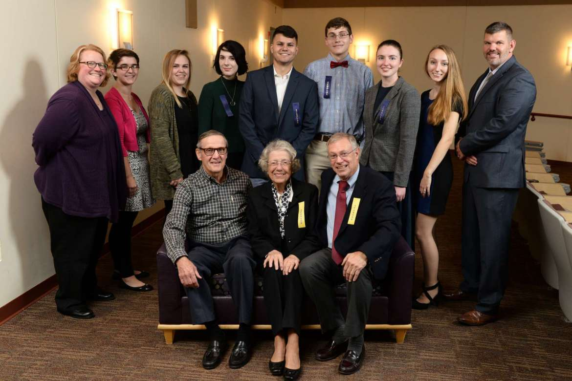 Recipients of the James and Katherine Moler Academic Scholarship pose with Shepherd University Foundation board members. Pictured front row (l. to r) are Al Lueck, Betty Lowe, and David Newlin; back row, Professor Heidi Hanrahan, Claire Tryon, Hailey Sparks, Ashley Fritsch, Christopher Hussion, Kevin Turner, Linnea Meyer, Erica Robinson, and Christopher Colbert.