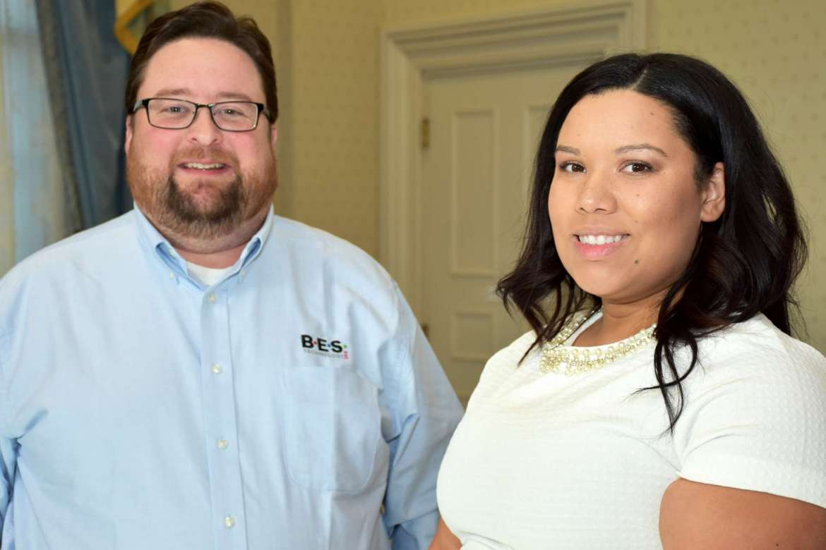 Pictured (l. to r.) Paul Buede, BES Technology CEO and cofounder, and Keisha Burns, a computer information technology major from Hedgesville and IEEE student branch vice president.