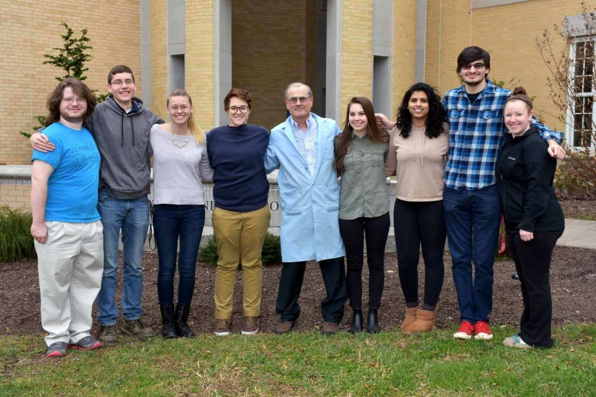 Members of Shepherd's American Chemical Society student chapter include Benjamin Lanham, Martinsburg; Kevin Turner, Capon Bridge; Alyssa Roush, Parkersburg; Elin Greer, Bridgeport; Dr. Dan Dilella, Department of Chemistry chair and chapter advisor; Courtney Glascock, Berkeley Springs; Keer Mesineni and Devon Umstead, both from Falling Waters; and Lauryl Scott, Myersville, Maryland.
