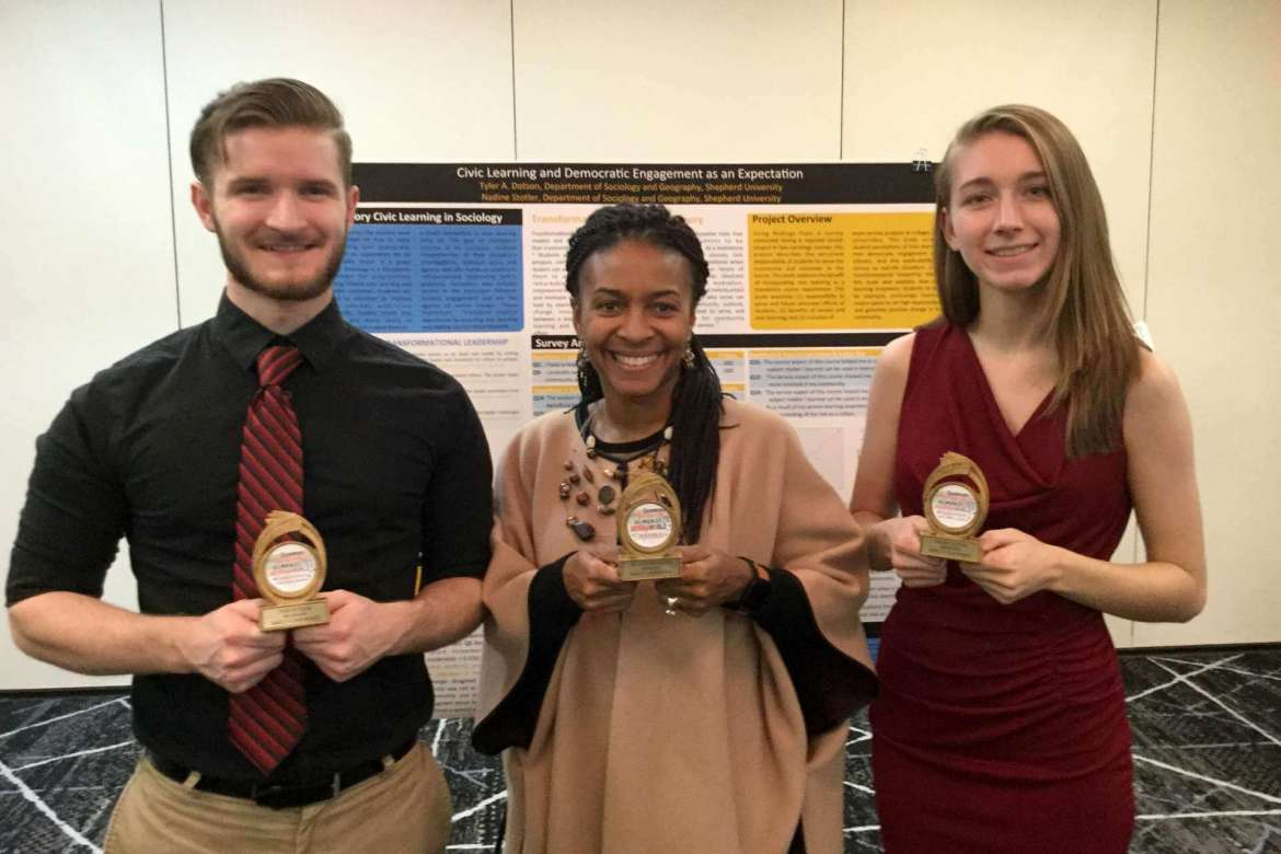 Pictured receiving trophies for their participation in the International Conference in Education, Research, Humanities, and Statistics in Washington, D.C., are (l. to r.) Tyler A. Dotson, a sociology major from Martinsburg; Dr. Chiquita Howard-Bostic, chair of the Department of Sociology and Geography; and Nadine Stotler, a psychology major from Martinsburg.