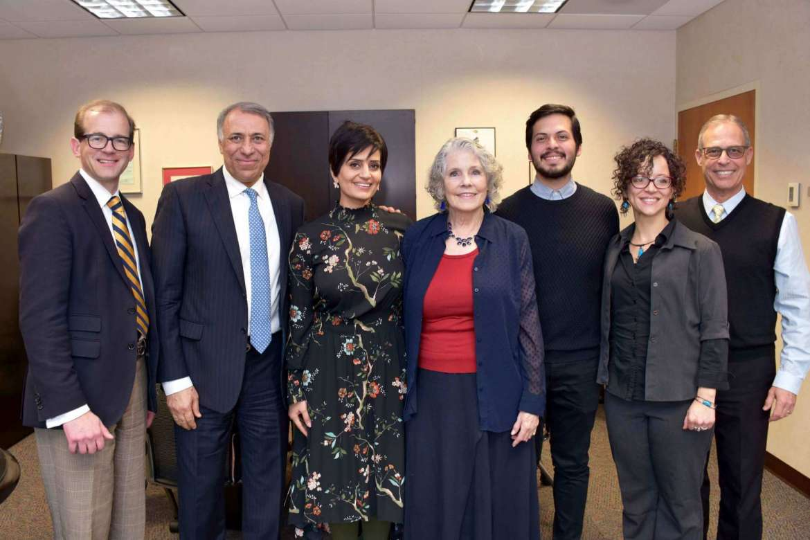 "Pictured (l. to r.) are Shepherd's Acting Provost Scott Beard; Dr. Abdulwahab Al-Dhafiri, Kuwait University; Fatima Alawadhi, Al Dhafiri's wife; Dr. Geri Crawley-Woods, chair, Department of Social Work at Shepherd; José  ""Pepe"" Cernicchiaro Guadarrama, Anáhuac University, Mexico; Amy Garzón Hampton, PRIDE coordinator/child welfare trainer at Shepherd; and Dr. Charles Nieman, director of international affairs at Shepherd."