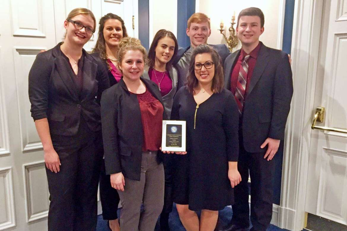 Members of the Shepherd University Debate and Forensics Team who won first place in Team Sweepstakes at the the January 26-27 CFA tournament in Canada are, front row, (l.-r.) Katie Zakrzewski and Spencer VanHoose; back row, Lauren Duckworth, Carleigh West, Molly Lovern, Casey Feezle, and Sam Brown.