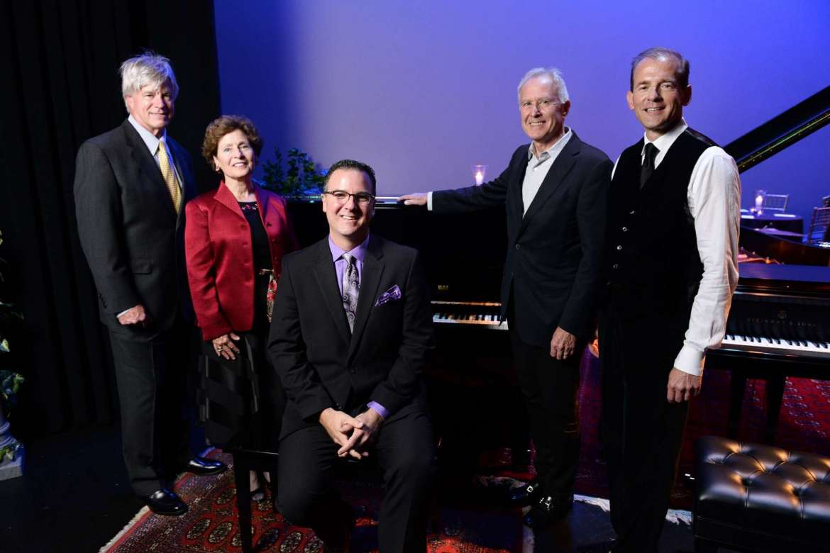 Pictured at the October 2017 announcement of Shepherd's All-Steinway Campaign are (l. to r.) Chuck Craft, Shepherd President Mary J.C. Hendrix, Dr. Rob Tudor, Alan Gibson, and Acting Provost Scott Beard. Gibson and Beard have donated a Steinway Boston upright piano as part of Shepherd's All-Steinway Campaign.